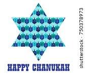 chanukah star with dreidel... | Shutterstock .eps vector #750378973