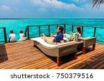 family with kids enjoying... | Shutterstock . vector #750379516