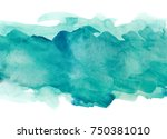 aquamarine watercolor strip... | Shutterstock . vector #750381010
