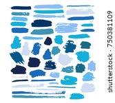 blue vector brush strokes of...   Shutterstock .eps vector #750381109