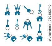 badges in the form of keys and... | Shutterstock .eps vector #750383740
