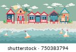 landscape with beach huts in a... | Shutterstock .eps vector #750383794