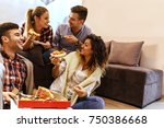 group of young friends eating... | Shutterstock . vector #750386668