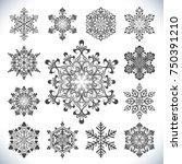 set of vector snowflakes... | Shutterstock .eps vector #750391210