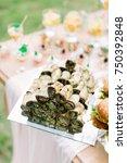 serving the wedding buffet table | Shutterstock . vector #750392848