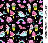 abstract seamless ice cream... | Shutterstock .eps vector #750393184
