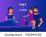 family doing payment by credit... | Shutterstock .eps vector #750394150