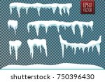 set of snow icicles isolated on ... | Shutterstock .eps vector #750396430