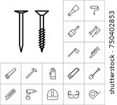 line screw and nail icon on... | Shutterstock .eps vector #750402853