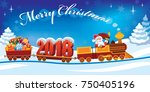 new year 2018 and santa claus... | Shutterstock . vector #750405196