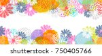 Stock vector seamless vector border with lemon white blue pink stylized doodle flowers and place for your 750405766