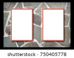 mock up stone wall frame  card  ...   Shutterstock . vector #750405778