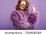 dreamy pretty girl plays with... | Shutterstock . vector #750408184