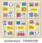 set of thin line radio life day ... | Shutterstock .eps vector #750409258