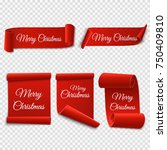 set of marry christmas red... | Shutterstock .eps vector #750409810