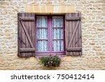 rustic wooden window on a stone ... | Shutterstock . vector #750412414