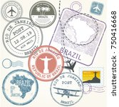 travel stamps set   brazil and... | Shutterstock .eps vector #750416668