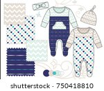newborn baby unisex fashion... | Shutterstock .eps vector #750418810