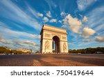 arc de triumph in paris with...   Shutterstock . vector #750419644