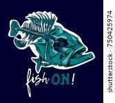 fish skeleton  serranidae  on a ... | Shutterstock .eps vector #750425974