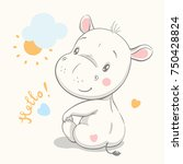 Cute Hippo Cartoon Hand Drawn...