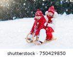little girl and boy enjoy a... | Shutterstock . vector #750429850