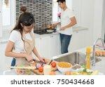 beautiful young woman asian is... | Shutterstock . vector #750434668