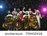 office christmas party. group... | Shutterstock . vector #750435418