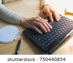 close up of female hands using...   Shutterstock . vector #750440854