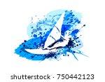vector white silhouette... | Shutterstock .eps vector #750442123