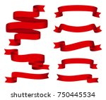 red glossy ribbon  banners set. ... | Shutterstock . vector #750445534