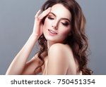 beautiful woman brunette red... | Shutterstock . vector #750451354