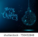 merry christmas greeting card.... | Shutterstock .eps vector #750452848