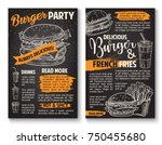 fast food burgers sketch... | Shutterstock .eps vector #750455680