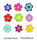 colorful flower set.   Shutterstock .eps vector #750456010