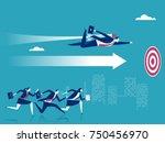 advantage. businessman flying... | Shutterstock .eps vector #750456970