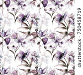 seamless pattern with beautiful ... | Shutterstock . vector #750458719