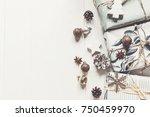 modern christmas flat lay.... | Shutterstock . vector #750459970
