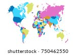 color world map vector | Shutterstock .eps vector #750462550