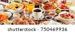 morning breakfast banner with a ... | Shutterstock . vector #750469936