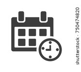 calendar and clock. black and... | Shutterstock .eps vector #750474820