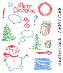 crayon christmas new year... | Shutterstock .eps vector #750477568