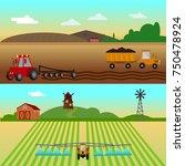 agribusiness. rural landscape. ... | Shutterstock .eps vector #750478924