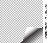 page curl with shadow on blank... | Shutterstock .eps vector #750482620