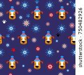Snowflakes Dog Winter Pattern....