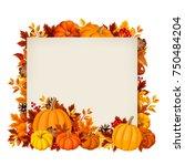 vector card with orange... | Shutterstock .eps vector #750484204