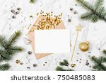 blank card with golden... | Shutterstock . vector #750485083