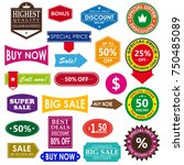 vector vintage sale label set... | Shutterstock .eps vector #750485089
