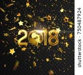 happy new 2018 year. vector... | Shutterstock .eps vector #750487924