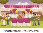 cartoon girl with her friends... | Shutterstock .eps vector #750492598